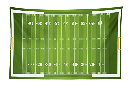 Lunarable Football Tapestry, Sports Field in Green Gridiron Yard Competitive Games College Teamwork Superbowl, Fabric Wall Hanging Decor for Bedroom Living Room Dorm, 45