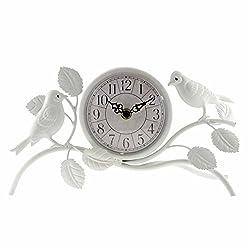Ashton Sutton Quartz Analog Table Clock, 9-Inch by 7-Inch, White Case with Two Birds