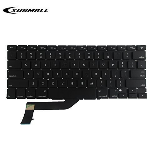 Sunmall Laptop Keyboard Without Frame and Backlits for 13-15 Year Apple MacBook Pro A1398 15 Series Black US Layout, Compatible with Part# MC975 MC976 (6 Months Warranty)