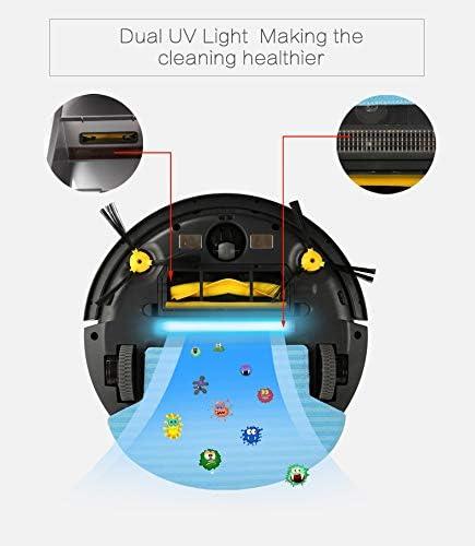 TeRIydF Aspirateur Robot, Navigation 2D sur Carte et Gyroscope, avec mémoire, Aspiration puissante, Filtre, vadrouille Humide