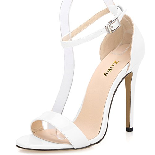 ZriEy Women's Ankle Strap Dress High Heel Sandals Stilettos 11CM Open Toe Heeled Sandal Patent Leather White Size 7.5 for Wedding Party Evening Business Shoes Womens Evening Shoes Ankle Strap