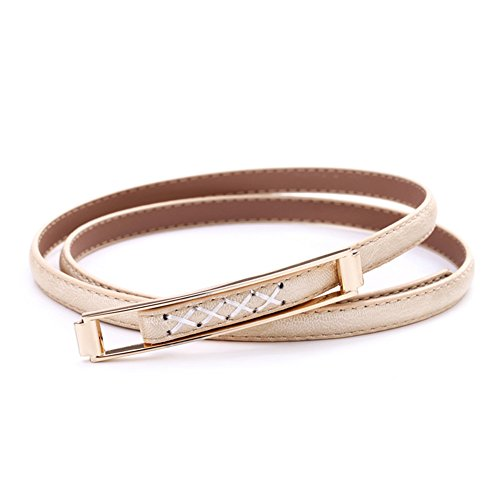 stable Stylish Gold Metal Buckle Leather Waist Belts For Dresses (Gold) ()