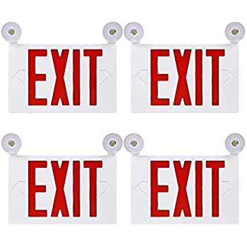 TORCHSTAR Red Letter LED Exit Sign, Double Face Emergency Light, AC 120V/277V, Battery Included, Top/Side/Back Mount Sign Light with 2 Adjustable Head, UL Listed for Commercial Grade, Pack of 4