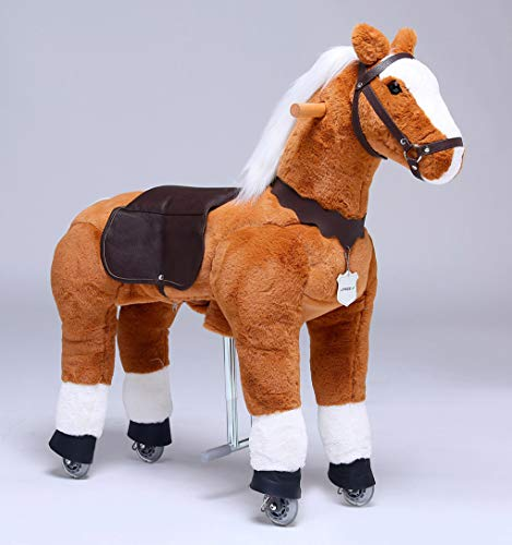 UFREE Horse Great Present for Girls, Action Pony Toy, Ride on Medium 36'' for Children 4 Years Old to 9 Years Old. (White Mane and Tail)
