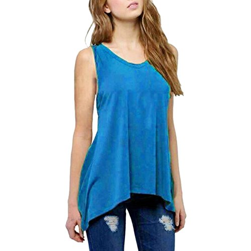 Women Solid O Neck Sleeveless Plus Size Vest Casual Top Tee T-Shirt Blouses Sky Blue ()