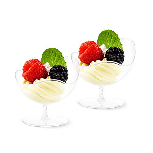 Dessert Cups – Scallop Stem Shape Clear Plastic Parfait Cups | 2 oz - 24 Pack | Mini Cups - Chocolate Cups for Desserts | Appetizer Cups | Shooter Glasses | Mini Plastic Cups [Mini Wonders]