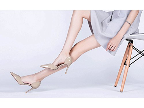 Spring and Summer New Elegant High Heels Sexy Pointed Women's Shoes (Color : Gray, Size : 34)