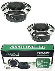 """2 x Timpano TPT-ST2 4"""" Super Loud Tweeters Silver Titanium Bullet 480 Watts"""