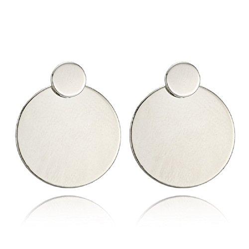 AILUER Women Silver Hoop Drop Earrings Dangle with Round Disc Stud - Drop Round Disc