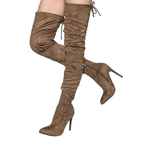 Beston EJ67 Frauen Stretch Snug Fit Kordelzug Oberschenkel Hohe Stiefel halbe Größe klein Taupe