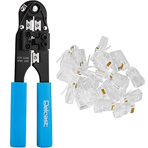 Cable Crimper Tool & 25 Connectors for CAT5 CAT5e RJ-45 Network Cables - Cable Usb Rj 45 Connector