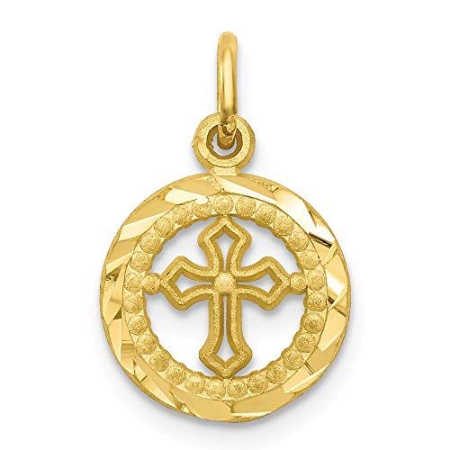 (10k Yellow Gold Cross Religious In Frame Pendant Charm Necklace Passion Fine Jewelry Gifts For Women For)