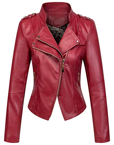 Studded Zip Jacket - chouyatou Women's Candy Color Asymmetric Zip Slim Faux Leather Cropped Moto Jacket (Large, Dark Red)