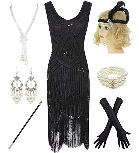 1920s Gatsby Sequin Fringed Paisley Flapper Dress with 20s Accessories Set (3XL, Black-Black)