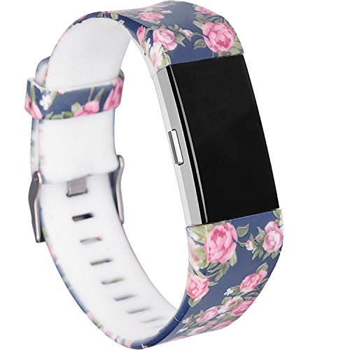 RedTaro Bands Compatible for Fitbit Charge 2, Replacement Accessory Wristbands (219 Blue Floral, Large (6.5-9.0)-Inches) ()