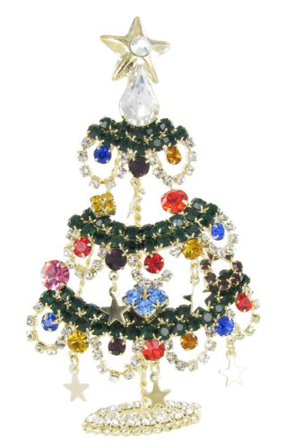 Crystal Rhinestone Christmas Tree Pin - Star Ornaments Christmas Tree Rhinestone Fashion Brooch Pin - Multicolored Crystals, Dangling Stars