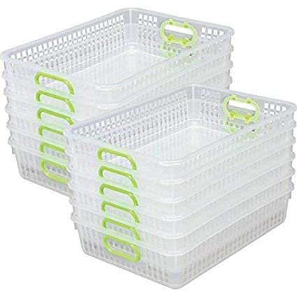 8b60086875d7 Really Good Stuff Multi Purpose Storage Baskets, Clear -13