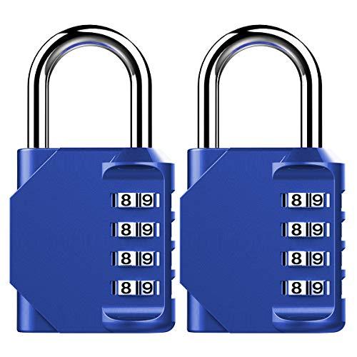 Puroma 2 Pack Combination Lock 4 Digit Padlock for School Gym Locker, Sports Locker, Fence, Toolbox, Case, Hasp Storage (Blue)
