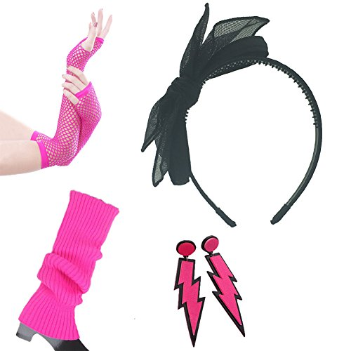 80s Fancy Outfit Costume Accessories Set-Leg Warmers,Fishnet Gloves,Neon Earrings,Lace Headband(Hotpink) (Easy 80's Costumes To Make)