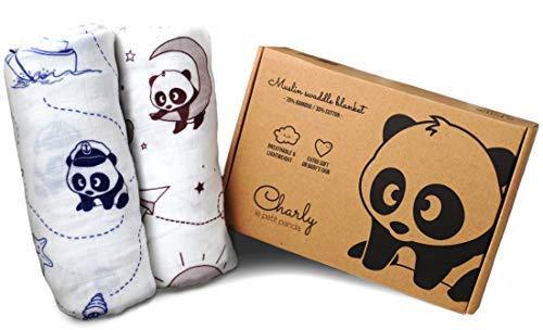 - Bamboo Muslin Swaddling Blankets, Large Breathable Receiving Blankets 2 Pack - Baby Swaddle Blanket 70% Bamboo 30% Cotton - Charly Le Petit Panda