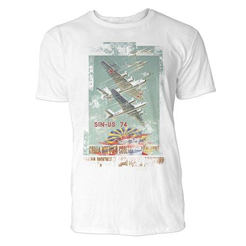 SINUS ART® Planes Herren T-Shirts stilvolles weißes Fun Shirt mit tollen Aufdruck