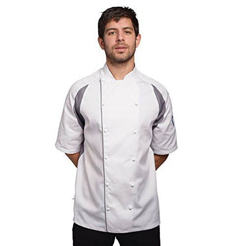 Le Chef Unisex Staycool Executive Short Sleeved Jacket (S) (White/ Grey) by Le Chef