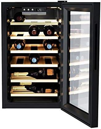 CWC 021 ELSP/N 73 litros, 21 botellas, conservación de 7 a 18 °C, interfaz electrónica, 6 clavijas de madera, 39 d(B) A, asas integradas, color negro