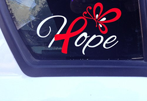 Hope w/ Red Awareness Ribbon And Butterfly Decal (EB, AIDS, CHD, Aplastic Anemia, Cardiovascular Disease, Evans Syndrome, Heart Disease) ()