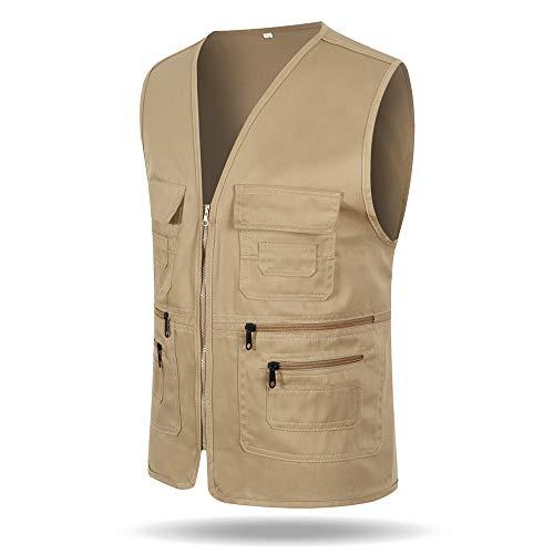 Lavoro Libero Abbigliamento Poliestere pocket Squadra Di Cotone Gilet Multi Giacca Volontario Cachi Bozevon Da Tempo E0WxZpAx1q