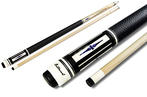 2-Piece Pool Stick Genuine Leather Cowhide Wrap Hardwood Canadian Maple With Steel Joint and with Ebony inlay point / sleeve 13mm Tip,58
