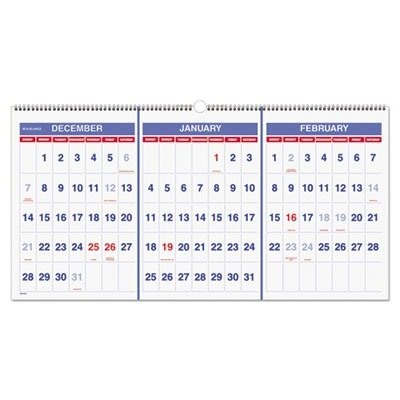 nce Recycled Three-Month Reference Wall Calendar ()