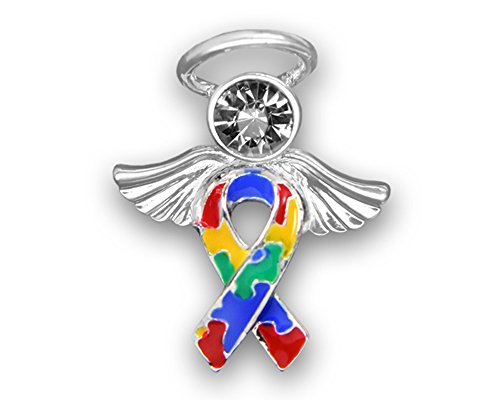 Angel Autism Ribbon Pins - with 1 Clear Crystal in a Gift Box (1 Pins - Retail)