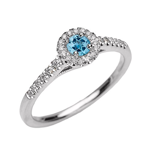 14k White Gold Blue Topaz and Diamond Engagement Proposal Dainty Ring (Size 6)