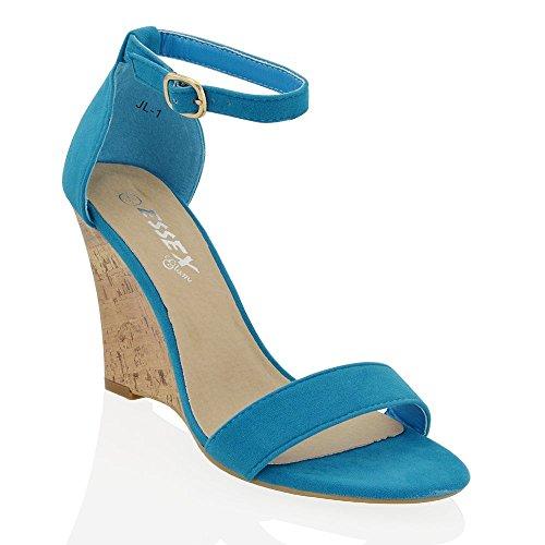 Sandalias De Tacón De Cuña Para Mujer Essex Glam Correa De Tobillo Efecto Efecto Peep Toe Zapatos Faux Gamuza Azul