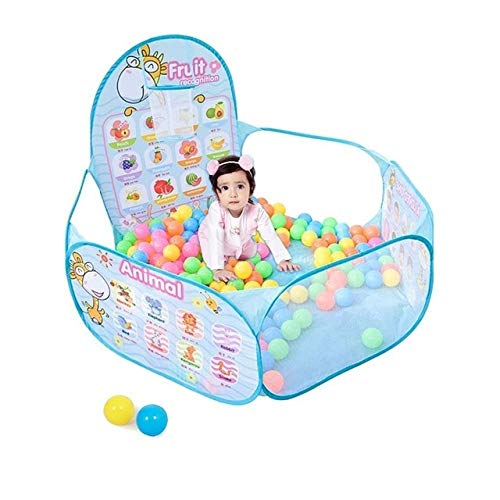 BeesClover 1.2M Children's Ocean Ball Bobo Ball Pool with A Ball Hoop Stand Kid's Play Tent Playing House Cartoon Ball Pool for Boy Girls Show One Size