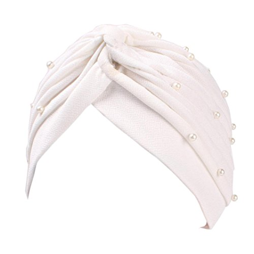 Muslim Hat, ღ Ninasill ღ Exclusive Ruffle Hat Pearl Beanie Scarf Turban Head Wrap Cap (White) ()