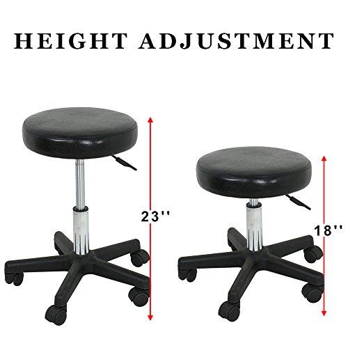 Adjustable Hydraulic Rolling Swivel Salon Stool Chair Tattoo Massage Facial Spa Stool Chair Black (PU Leather Cushion) (1pcs) by Nova Microdermabrasion (Image #3)