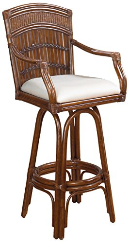 Hospitality Rattan 710-6115-ATQ-B Polynesian Indoor Swivel Bamboo & Rattan Bar Stool in Antique Finish with Cushion, Light Beige Bamboo Swivel Bar Stool