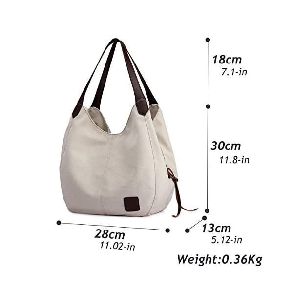 Hiigoo Fashion Women's Multi-pocket Cotton Canvas Handbags Shoulder Bags Totes Purses