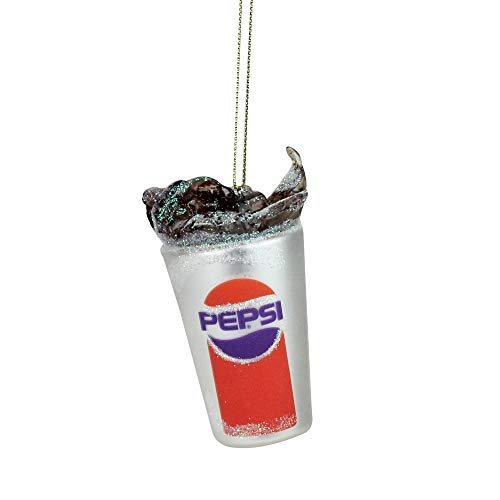 (Northlight Pepsi Fountain Drink Soda Splash Decorative Glass Christmas Ornament, 3.5