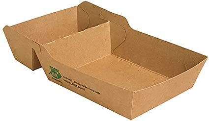 Papstar – 7 x 80 - Bote de cartón «puro» con 2 compartimentos, 3,8 x 8,5 x 15,5 cm, color marrón: Amazon.es: Hogar