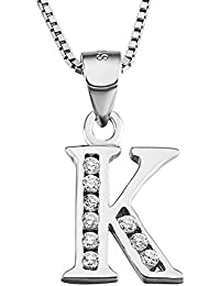 S925 Sterling Silver Cubic Zirconia 26 Initial Letters Alphabet Personalized Charm Pendant Necklace