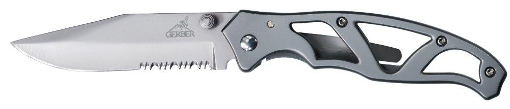 Gerber Paraframe I Knife, Serrated Edge, Stainless Steel [22-48443]