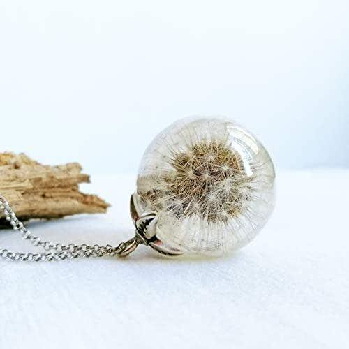 Collar Transparente con Semillas de Diente de León, Colgante de Esfera Cristalina, Regalos originales