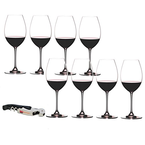 Riedel Vinum XL Leaded Crystal Syrah/Shiraz Wine Glass Set, Buy 6 Get 8 with Bonus BigKitchen Waiter's Corkscrew ()
