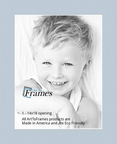 14x18 Fountain Blue / Baby Blue Custom Mat for Picture Frame with 10x14 opening size (Mat Only, Frame NOT Included)