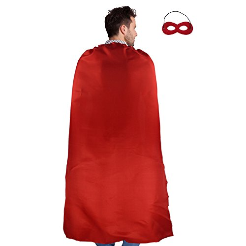 Men & Women's Superhero Cape or Cloak with Mask Lacing Party Costumes (Adult Superhero Cape)