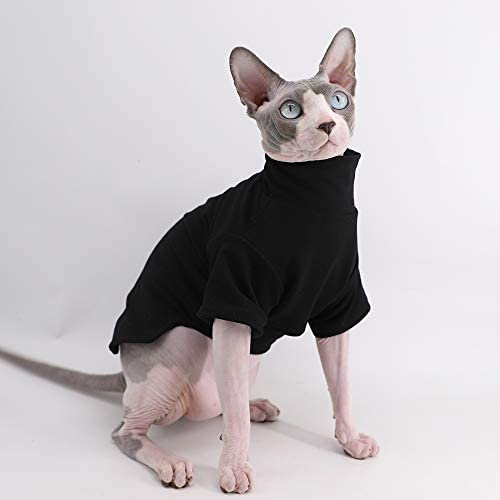Sphynx Cat Clothes Winter Thick Cotton T-Shirts Double-Layer Pet Clothes, Pullover Kitten Shirts with Sleeves, Hairless Cat Pajamas Apparel for Cats & Small Dogs 14