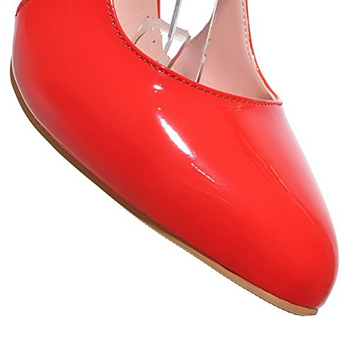 Womens Toe Red Shoes Leather Buckle Patent Pointed Solid Spikes AllhqFashion Stilettos Pumps qp6xdwqt