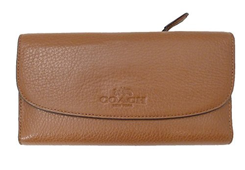 Coach 52715 Pebbled Leather Checkbook Wallet Saddle by Coach